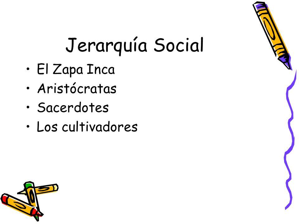 Jerarquía Social El Zapa Inca Aristócratas Sacerdotes Los cultivadores
