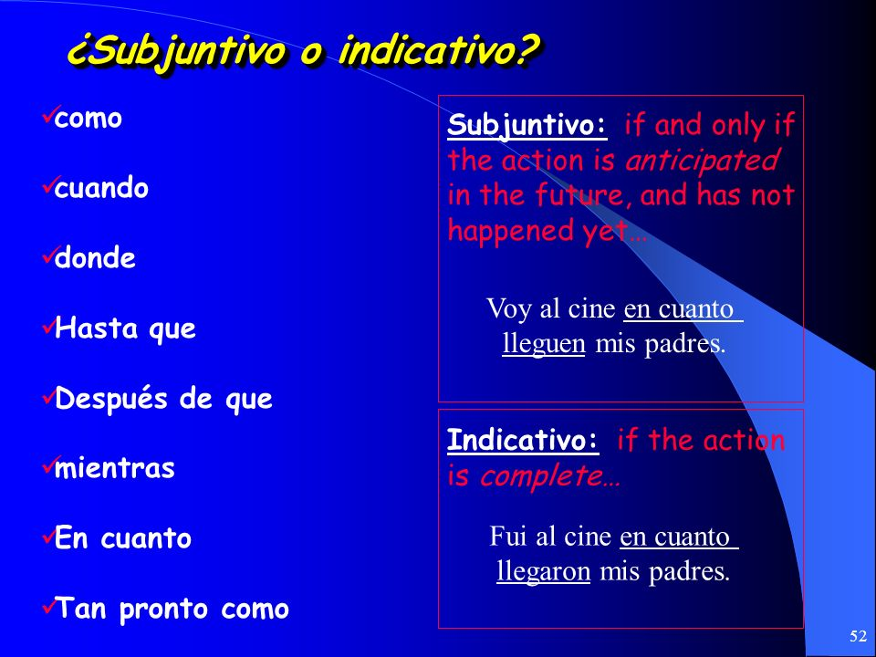 ¿Subjuntivo o indicativo