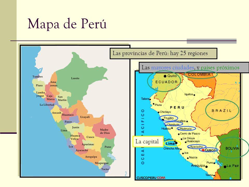 Mapa de Perú Las provincias de Perú: hay 25 regiones