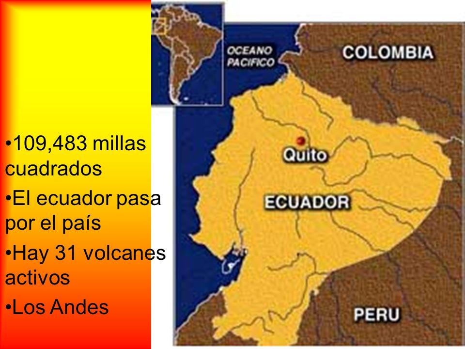 109,483 millas cuadrados El ecuador pasa por el país Hay 31 volcanes activos Los Andes