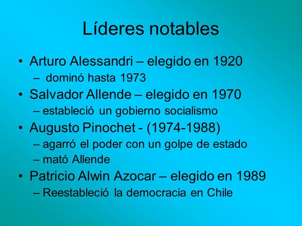 Líderes notables Arturo Alessandri – elegido en 1920