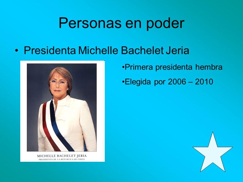 Personas en poder Presidenta Michelle Bachelet Jeria