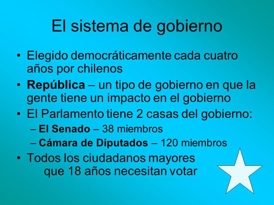 El sistema de gobierno Elegido democráticamente cada cuatro años por chilenos.