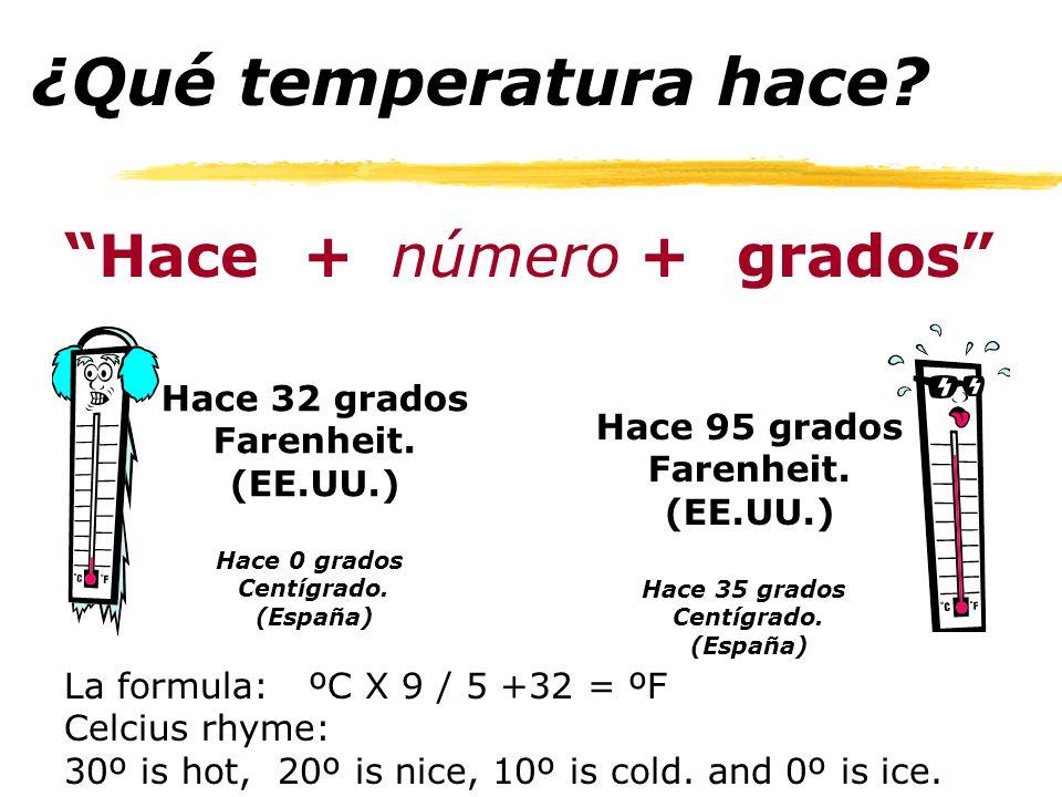 ¿Qué temperatura hace Hace + número grados Hace 32 grados
