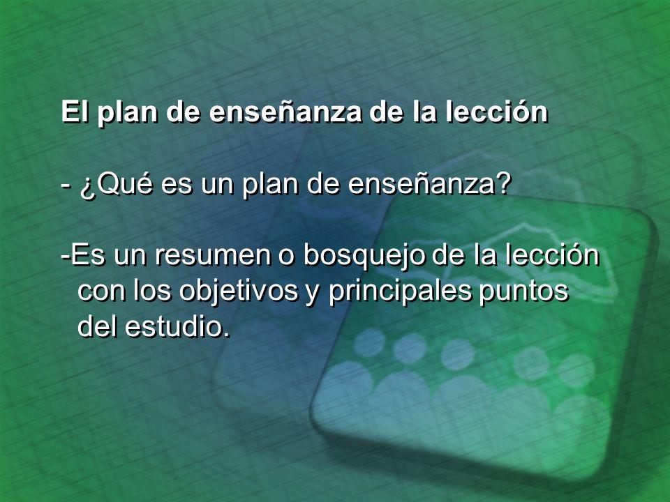 El plan de enseñanza de la lección