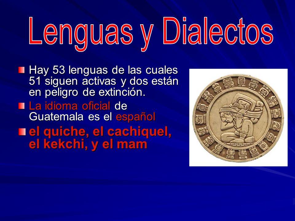 Lenguas y Dialectos el quiche, el cachiquel, el kekchi, y el mam