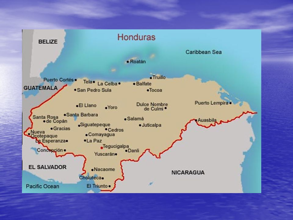 Honduras esta a lado de Nicaragua, El Salvador, Guatemala, y también el océano pacifico, y el mar caribeo.
