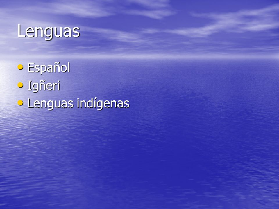 Lenguas Español Igñeri Lenguas indígenas