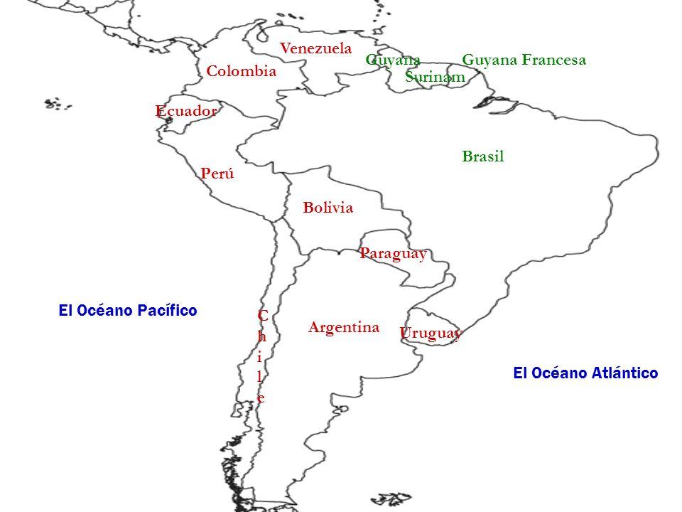 VenezuelaGuyana. Guyana Francesa. Colombia. Surinam. Ecuador. Brasil. Perú. Bolivia. Paraguay. El Océano Pacífico.