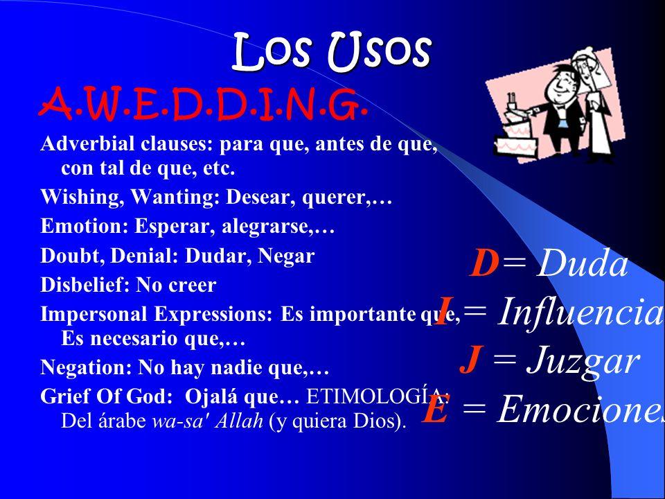 Los Usos D= Duda I = Influencia J = Juzgar E = Emociones
