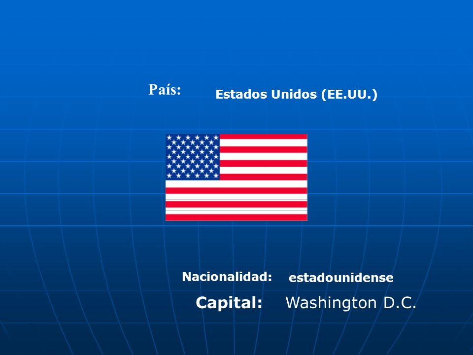 País: Capital: Washington D.C. Estados Unidos (EE.UU.) Nacionalidad: