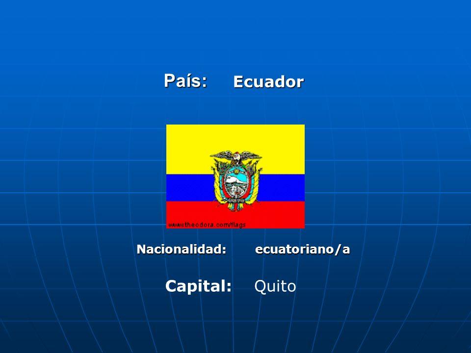 País: Ecuador Nacionalidad: ecuatoriano/a Capital: Quito