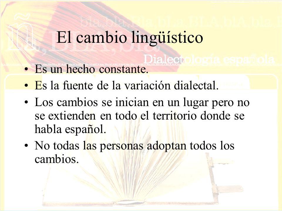El cambio lingüístico Es un hecho constante.