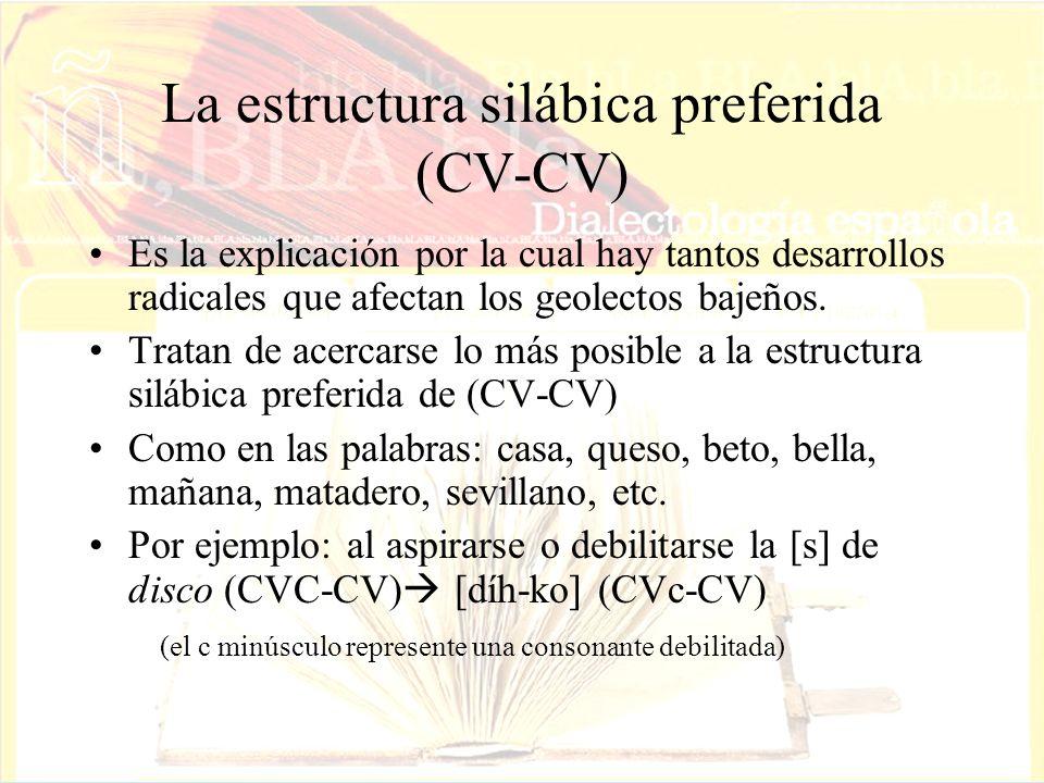 La estructura silábica preferida (CV-CV)