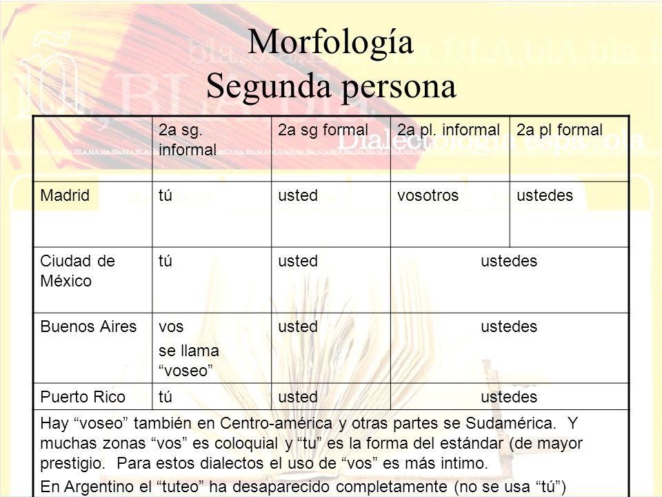 Morfología Segunda persona