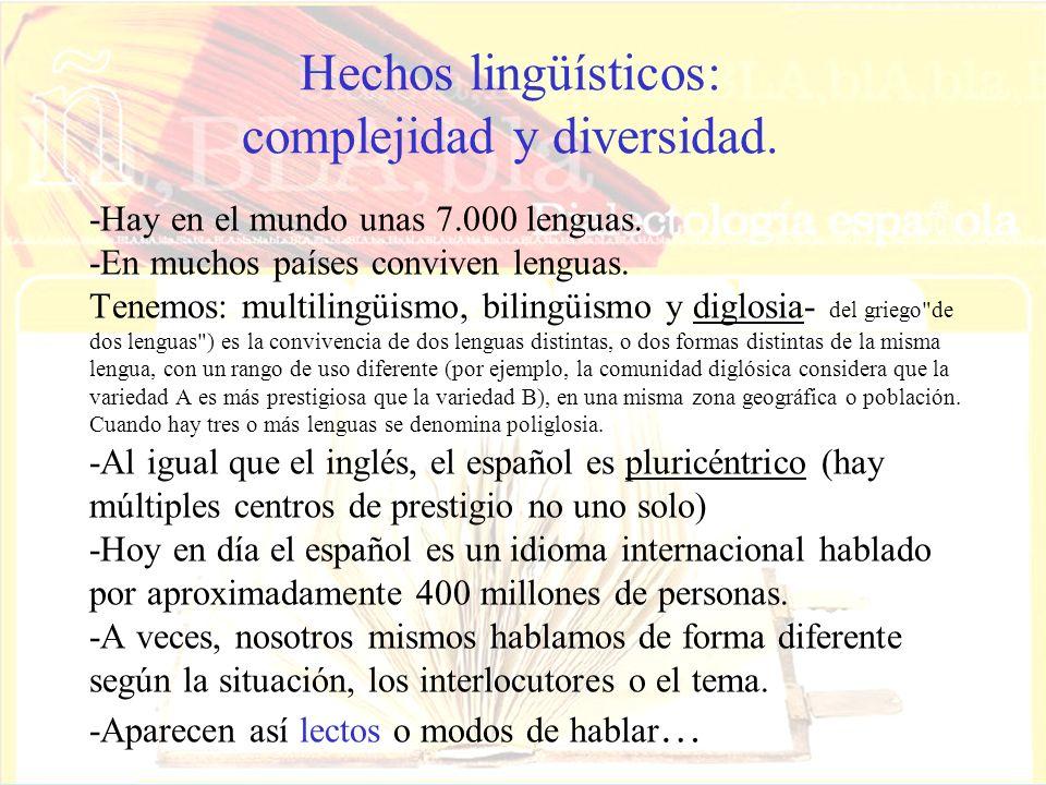 Hechos lingüísticos: complejidad y diversidad.