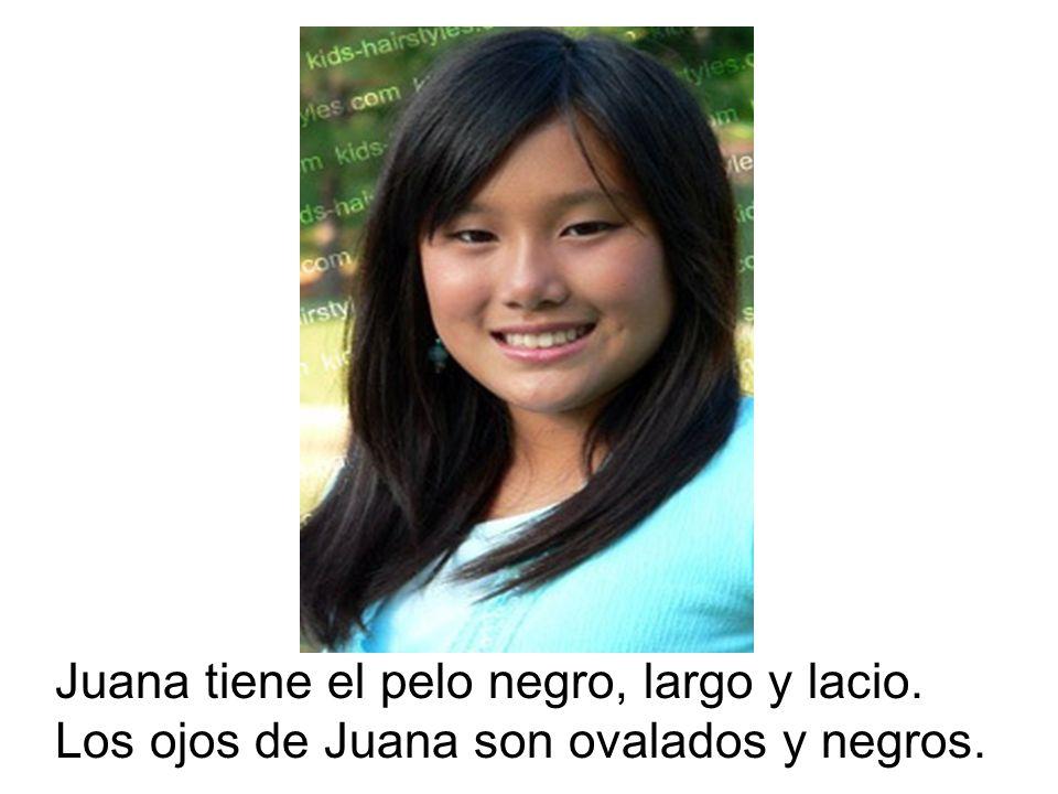 Juana tiene el pelo negro, largo y lacio