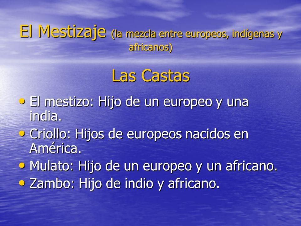 El Mestizaje (la mezcla entre europeos, indígenas y africanos) Las Castas