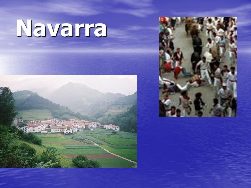 Navarra Navarra está cerca de Los Pirineos y tambien es famoso para la fiesta de San Fermin en Pamplona.