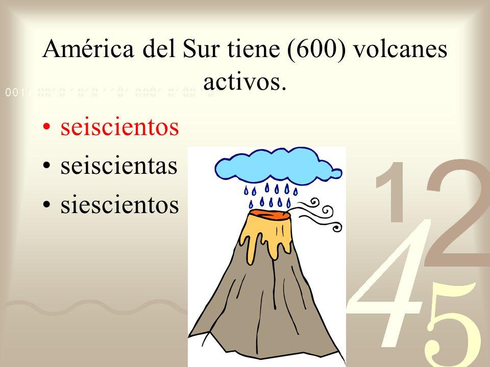 América del Sur tiene (600) volcanes activos.
