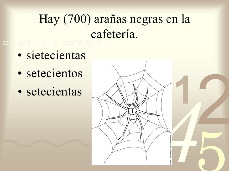 Hay (700) arañas negras en la cafetería.