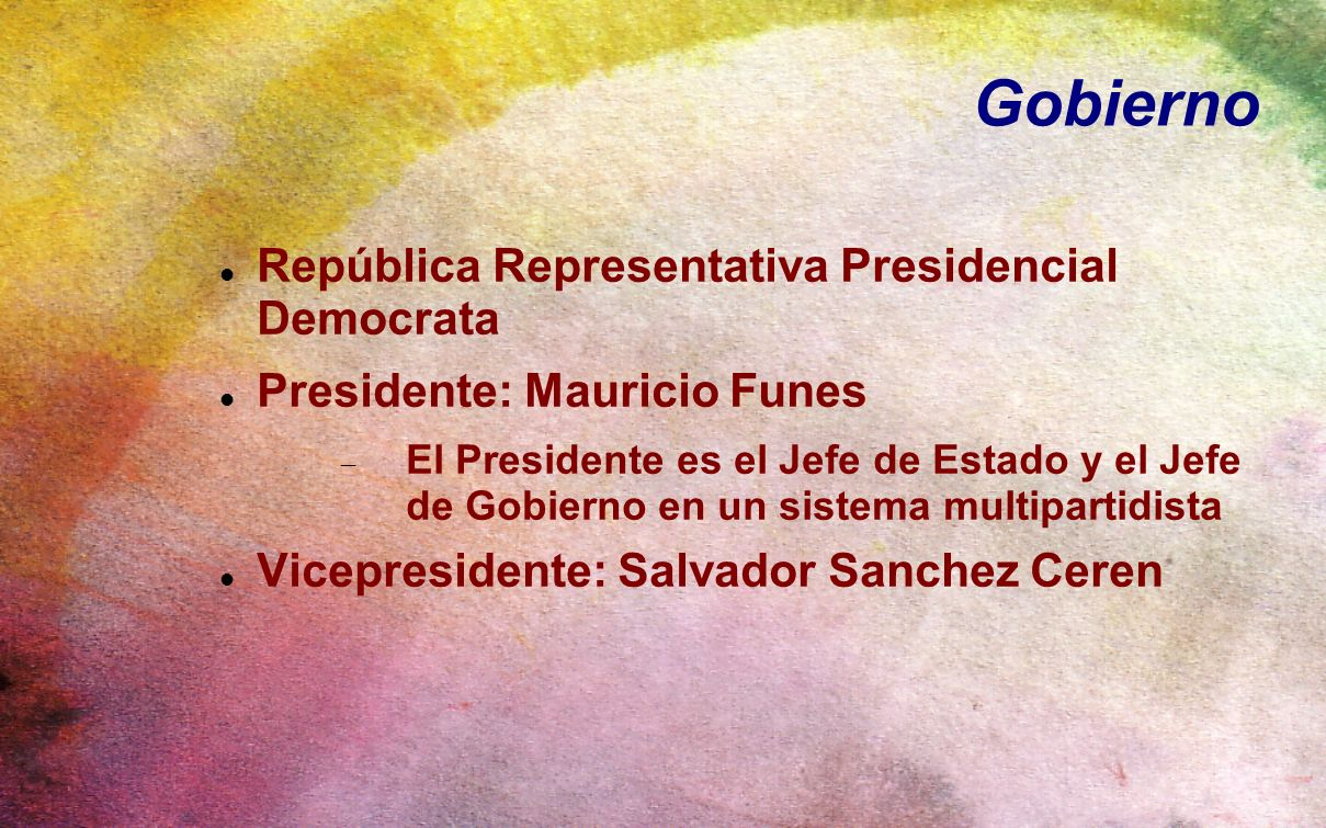 Gobierno República Representativa Presidencial Democrata