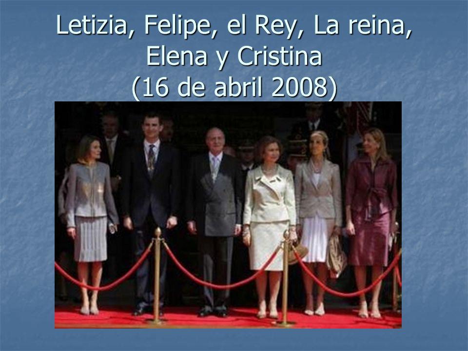 Letizia, Felipe, el Rey, La reina, Elena y Cristina (16 de abril 2008)