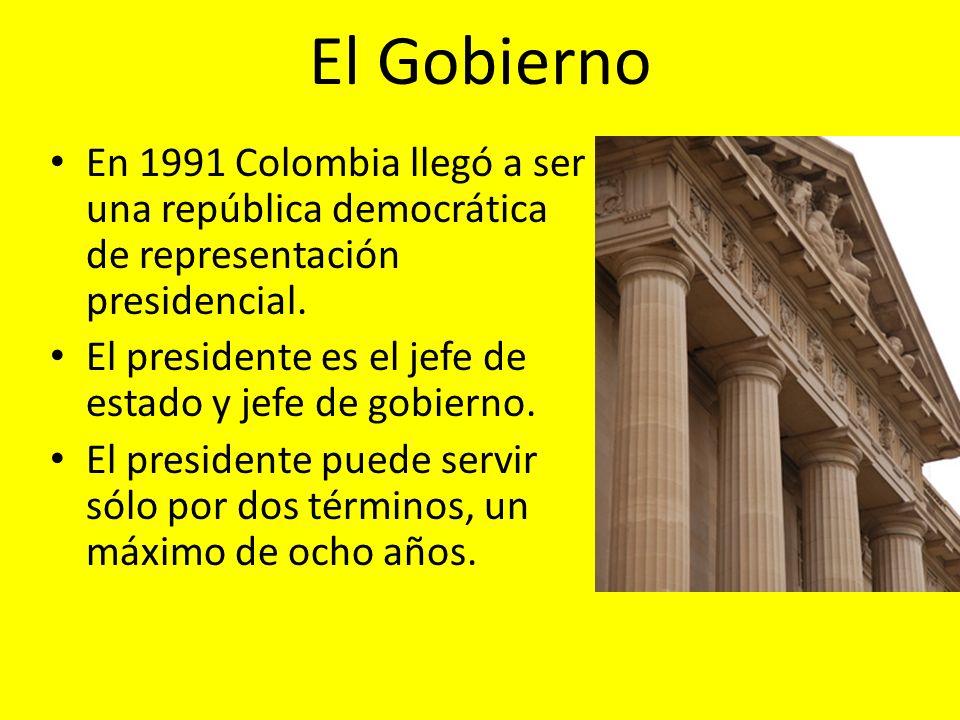 El Gobierno En 1991 Colombia llegó a ser una república democrática de representación presidencial.