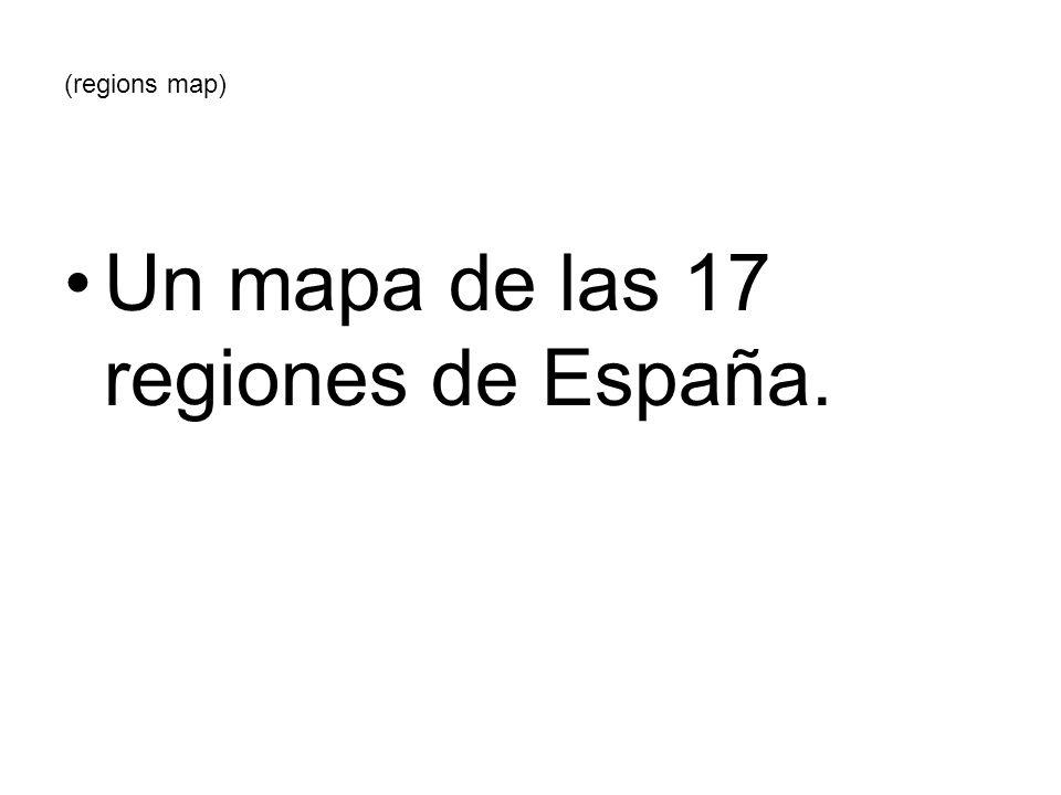 Un mapa de las 17 regiones de España.
