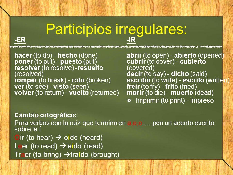 Participios irregulares: