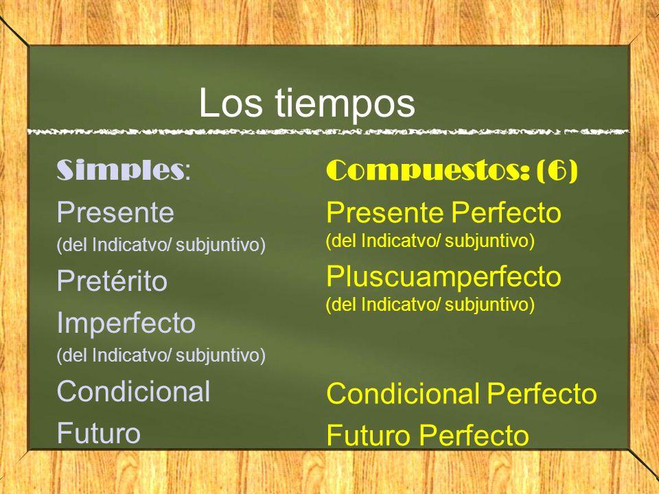 Los tiempos Simples: Presente Pretérito Imperfecto Condicional Futuro