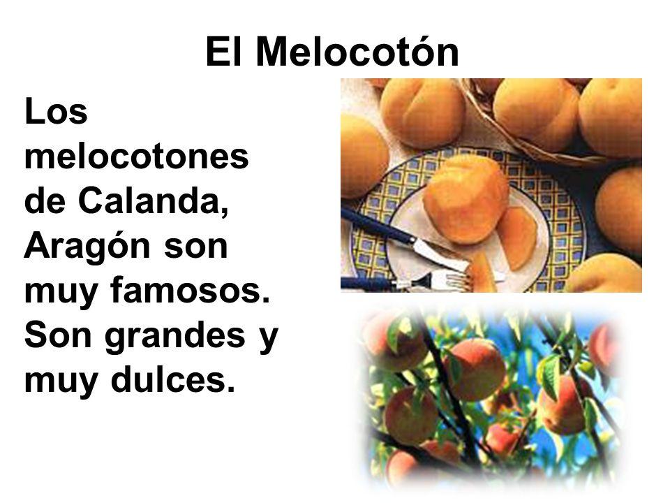 El Melocotón Los melocotones de Calanda, Aragón son muy famosos. Son grandes y muy dulces.