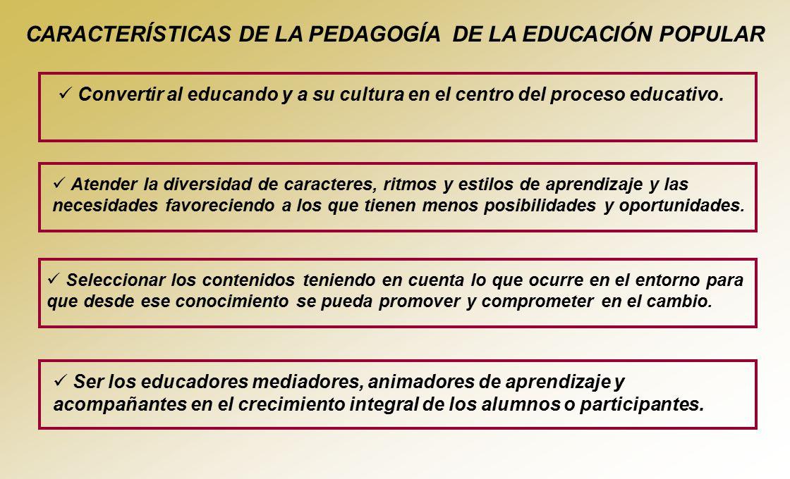 CARACTERÍSTICAS DE LA PEDAGOGÍA DE LA EDUCACIÓN POPULAR
