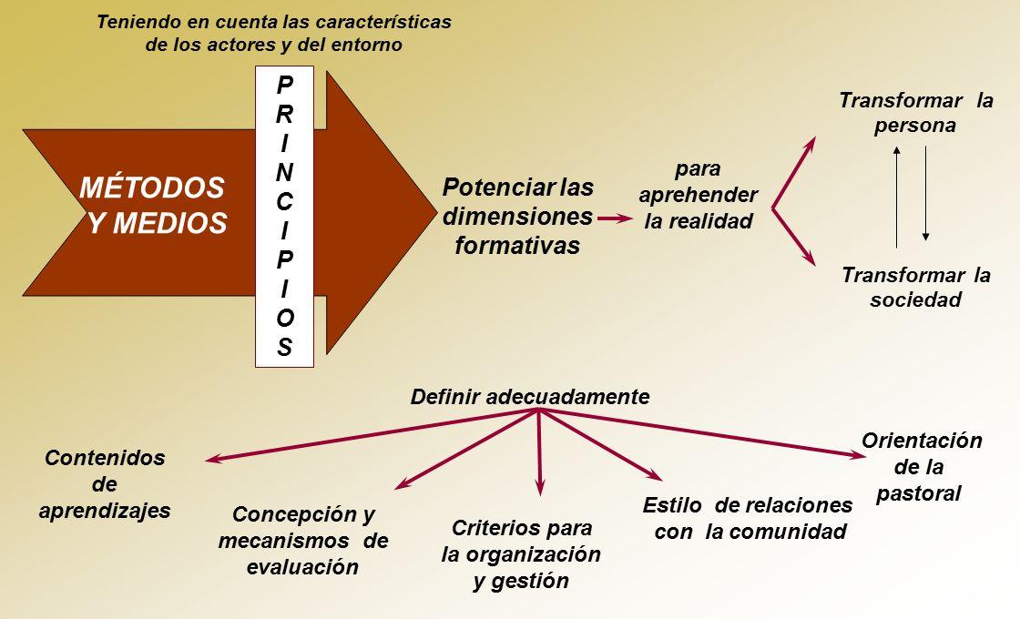 MÉTODOS Y MEDIOS P R I N C Potenciar las dimensiones formativas O S