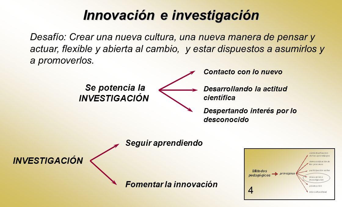 Innovación e investigación Se potencia la INVESTIGACIÓN