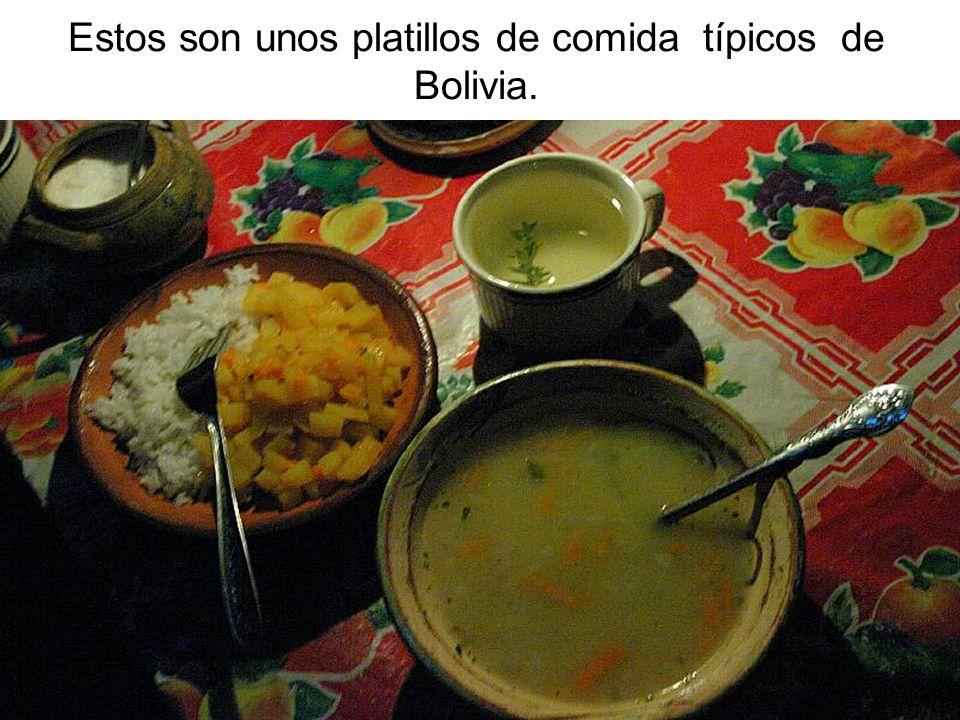 Estos son unos platillos de comida típicos de Bolivia.