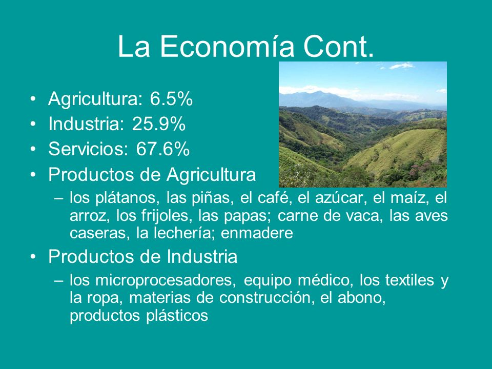 La Economía Cont. Agricultura: 6.5% Industria: 25.9% Servicios: 67.6%