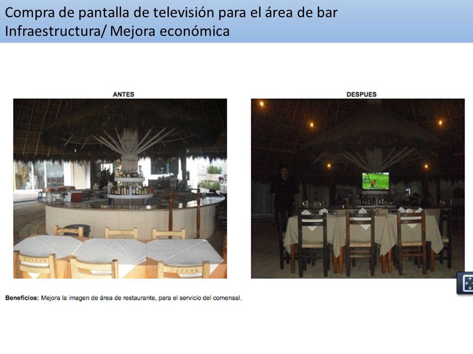 Compra de pantalla de televisión para el área de bar Infraestructura/ Mejora económica