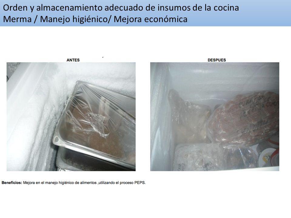 Orden y almacenamiento adecuado de insumos de la cocina