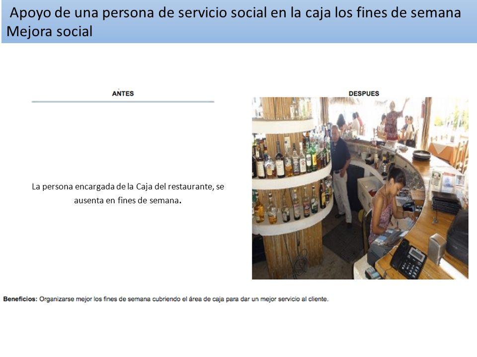Apoyo de una persona de servicio social en la caja los fines de semana Mejora social
