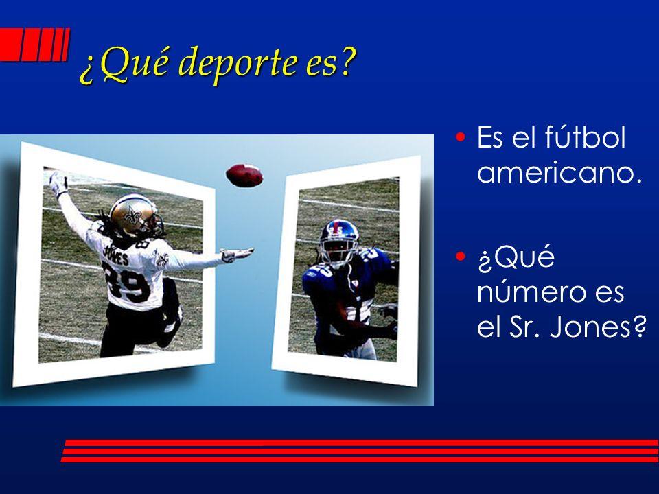 ¿Qué deporte es Es el fútbol americano. ¿Qué número es el Sr. Jones