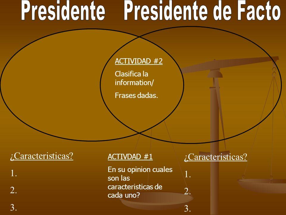 Presidente Presidente de Facto ¿Caracteristicas ¿Caracteristicas 1.