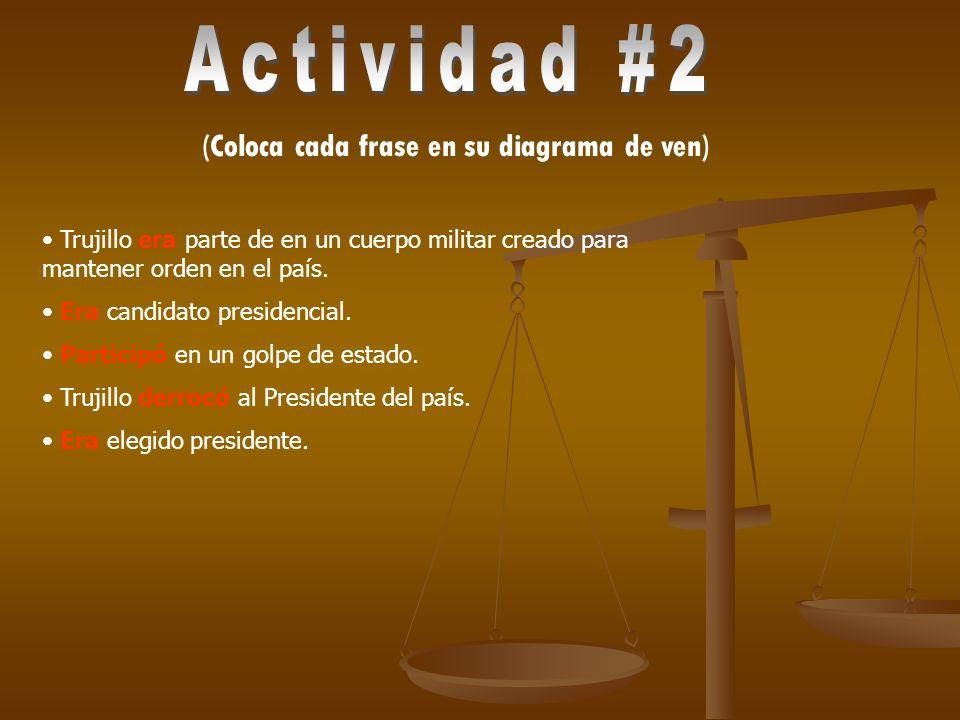 Actividad #2 (Coloca cada frase en su diagrama de ven)