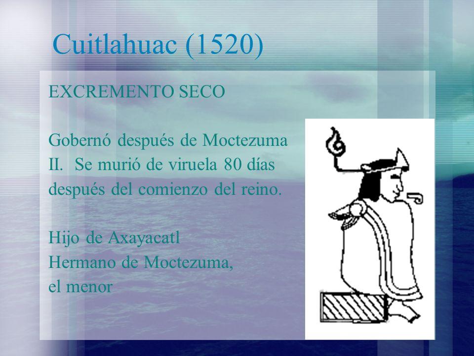 Cuitlahuac (1520) EXCREMENTO SECO Gobernó después de Moctezuma