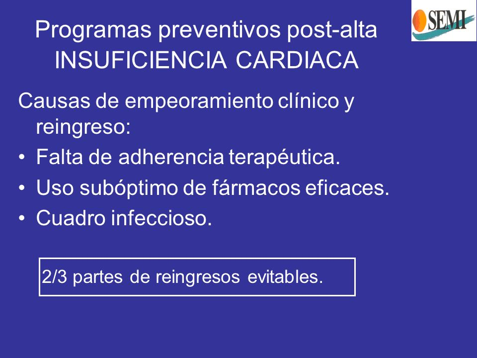 Programas preventivos post-alta INSUFICIENCIA CARDIACA