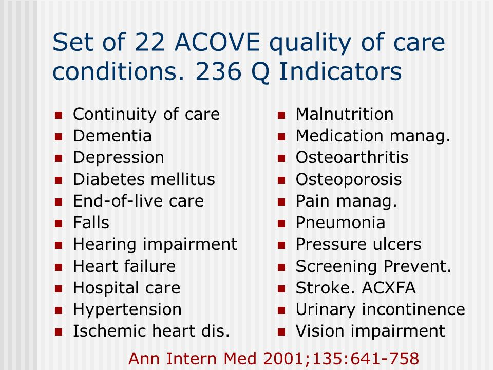 Set of 22 ACOVE quality of care conditions. 236 Q Indicators