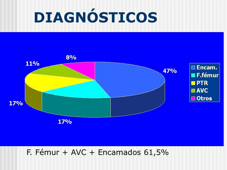 DIAGNÓSTICOS F. Fémur + AVC + Encamados 61,5%