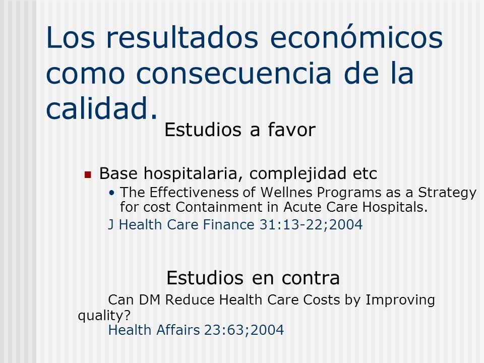 Los resultados económicos como consecuencia de la calidad.