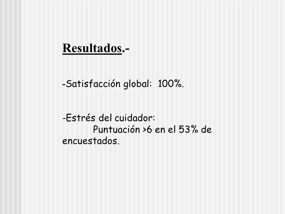 Resultados.- -Satisfacción global: 100%. -Estrés del cuidador: