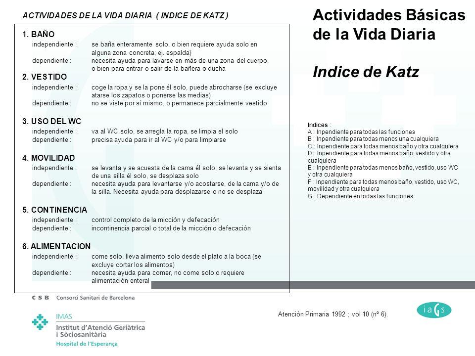 Actividades Básicas de la Vida Diaria Indice de Katz